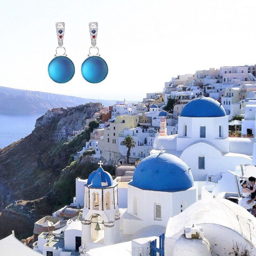 náušnice biatlonové šperky milan jiříček santorini