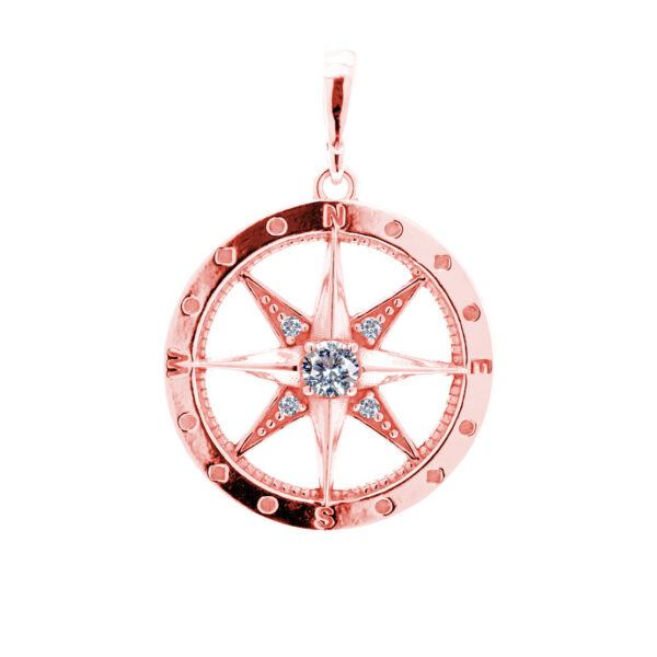 kompas přívěsek polárka červené zlato