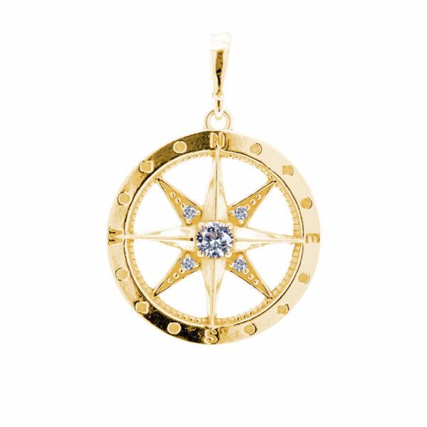 zlatý přívěsek kompas