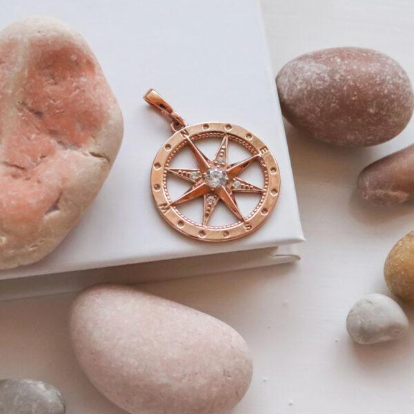 přívěsek kompas polárka růžové zlato