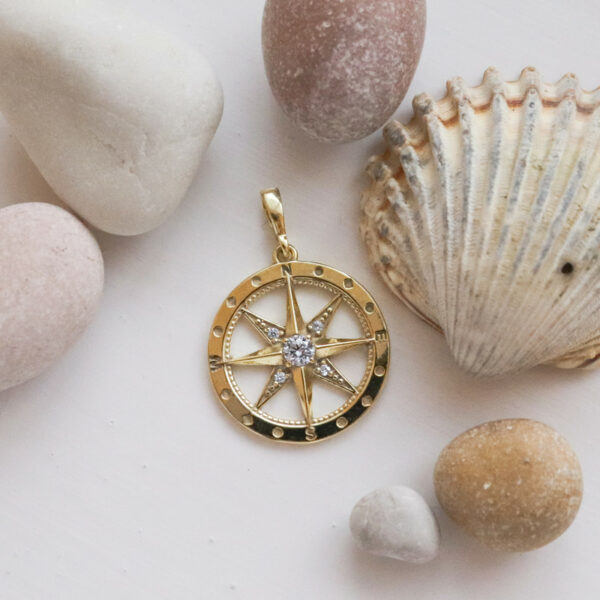 přívěsek kompas polárka žluté zlato