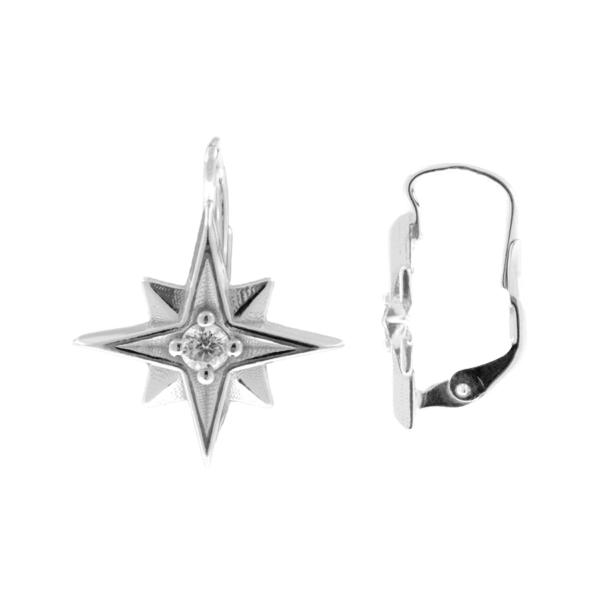 stříbrné náušnice hvězdy klapka