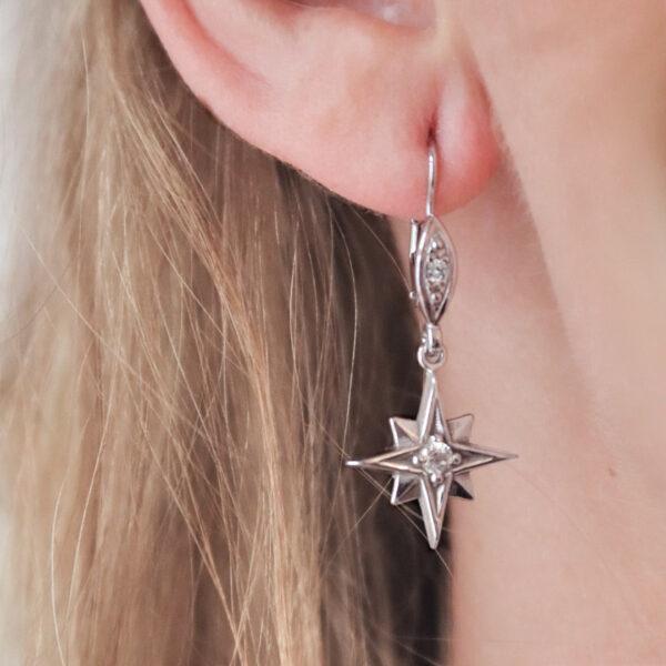 stříbrné náušnice polaris hvězdy