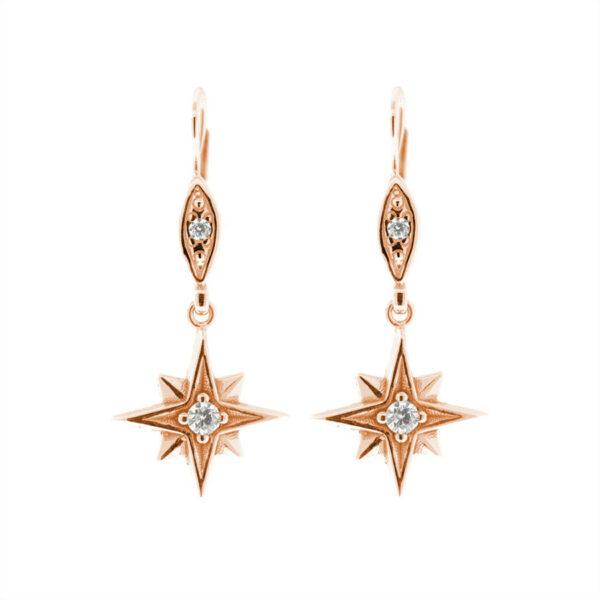 náušnice hvězdy polaris růžové zlato
