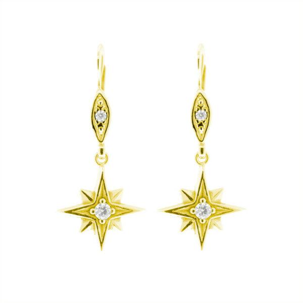 zlaté náušnice polaris hvězdy