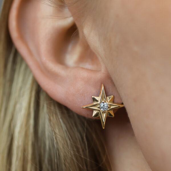 zlaté náušnice hvězda