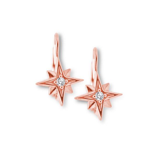 náušnice mini Stella na klapku růžové zlato
