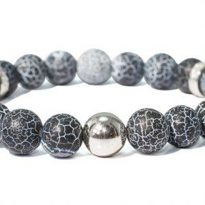 náramek z přírodních minerálů se stříbrnými komponenty