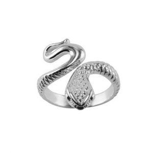 stříbrný prsten had velký